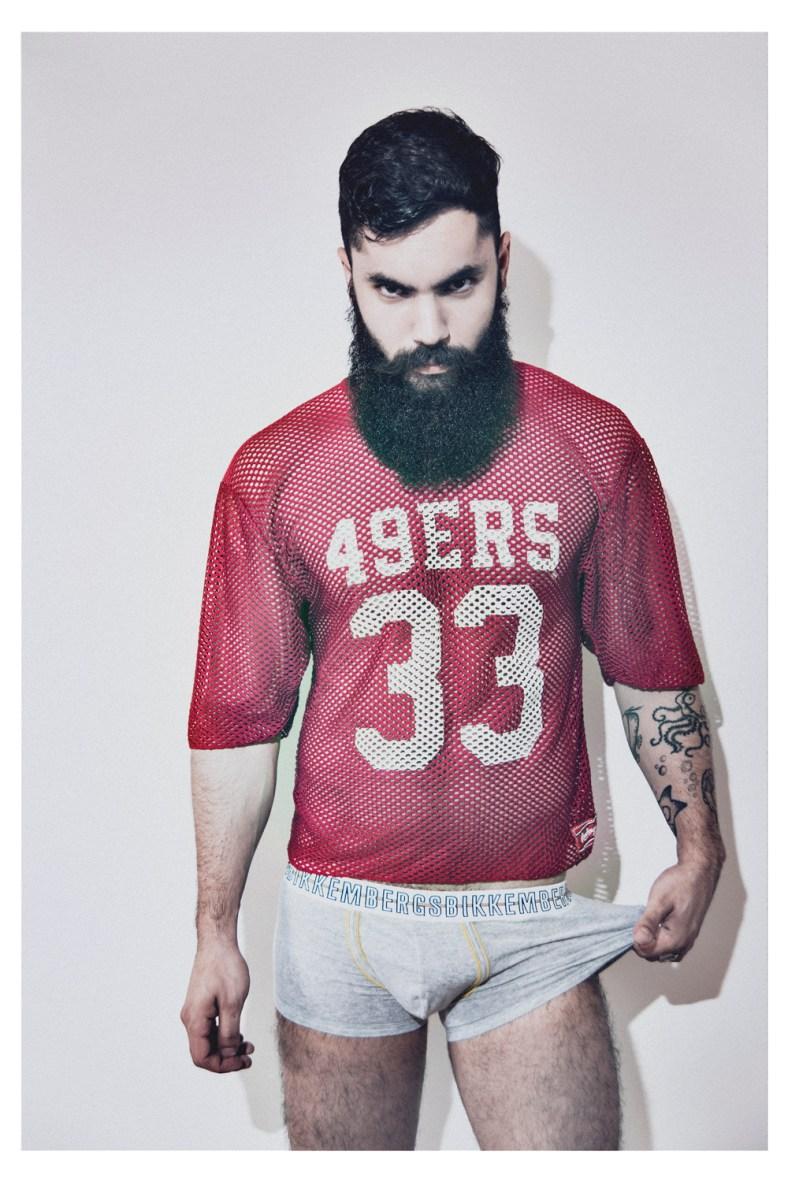 Luca Marchesini: Rugby mesh T-shirt vintage Archivi Mazzini, underwear Dirk Bikkembergs