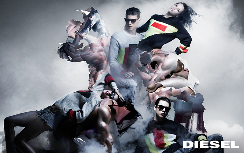 """The 'Neo-neoclassic campaign' is a pop amalgam of the classical, the digital and the real. Marking the beginning of a new era for Diesel and featuring Nicola Formichetti's foundational collection for the brand. The campaign and collection are built upon three of the timeless 'Diesel Icons': Leather-Rock 'n' Roll, Denim and Military-Utility. These three pillars are intrinsic to Diesel and are a part of the foundations of the brand today. The campaign is a play on the notion of these contemporary 'pop' classics in fashion, mixed with a view of the classical in art, a new form of Diesel's alternative spirit. Stars such as Colton Haynes and Kiko Mizuhara sit easily beside the cast of characters from models and actors to musicians and mere internet cast mortals – punctuated by muscle-bound, 'glitched' and abstracted male nudes. All are part of the new, democratically 'glitched', global community of Diesel. The campaign is a playful rifling through pivotal remembered images for both Nicola Formichetti and Nick Knight and a sophisticated forming of something new through the digital medium. """"The new vision of the brand is strong for both men and women, it is a united vision,"""" says Nicola Formichetti. """"There are groups of boys and girls, slick and street, it all feels even. This is a mixture of people found in digital space as well as actors, models and musicians; it's an inclusive pop vision of all different kinds of people who are true to themselves. The casting is a big part of what we do at Diesel; it's the forming of a new kind of tribe."""" www.diesel.com"""