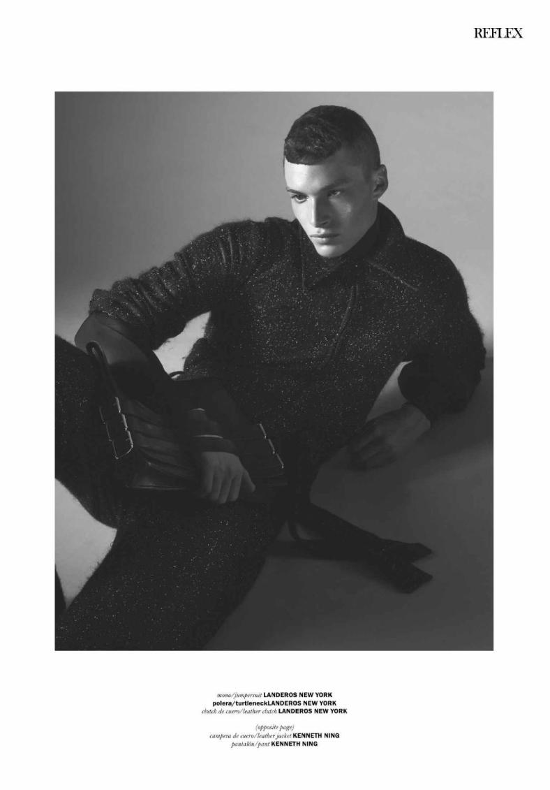 """Amazed by this black and white fashion editorial for September Issue Reflex Homme stunning photography by Geoff Barrenger, Photographer and starring by top model Louis Mayhew (currently at NYFW) He's represented by DNA Model Management. Styled by Anthony Pedraza Entitled """"Shadow Play"""" where we can appreciate all the efforts from the people exposed in this essay.  Photographer: Geoff Barrenger. Stylist: Anthony Pedraza. Grooming: Jarius LaMont."""