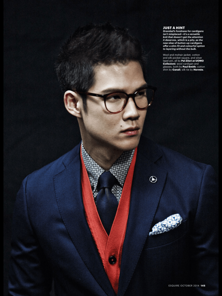 Esquire Singapore Oct Issue. All the 10+ pages fashion pages in the October issue were dedicated to this solo spread featuring Singapore swimmer Nick Tan, with managing editor Janie Cai styling personally, and photographed by Ivanho Harlim & Shysilia Novita.