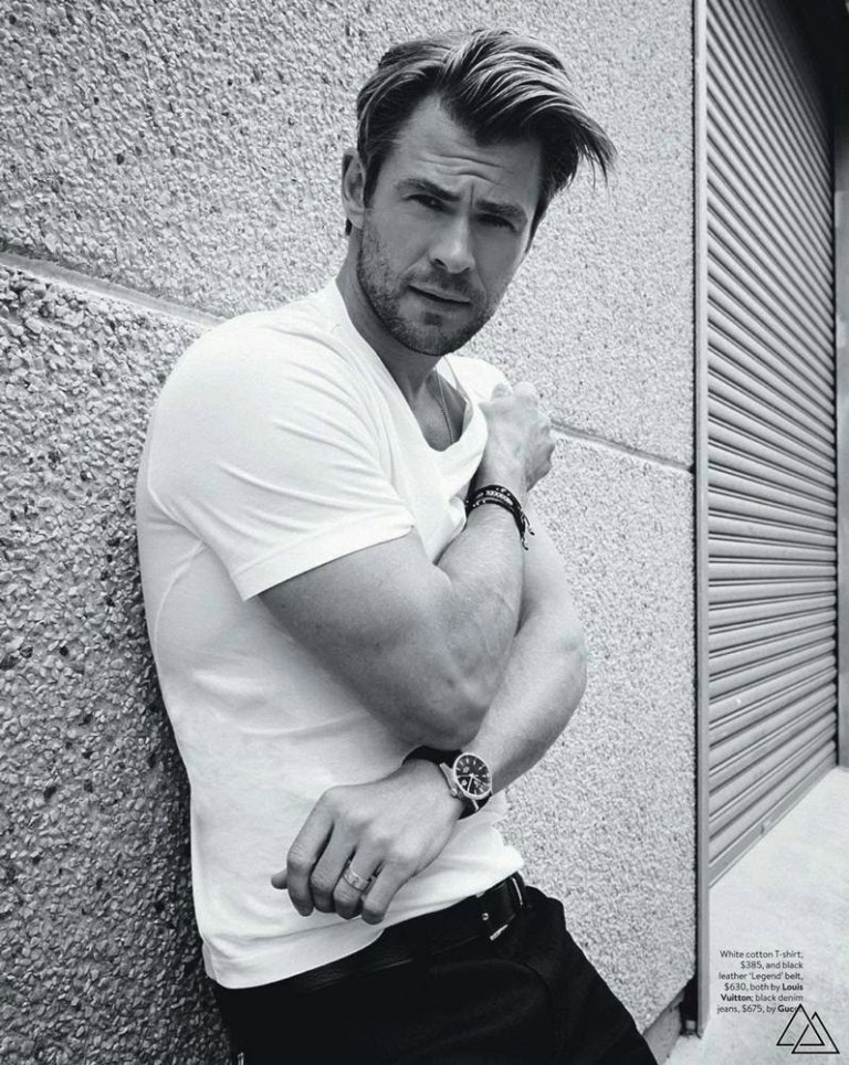 Chris Hemsworth, one of the most outstanding actors of this generation poses for the camera Harold David in the February issue of GQ Australia d, with images to black and white and relaxed by Barnady Ash styling.