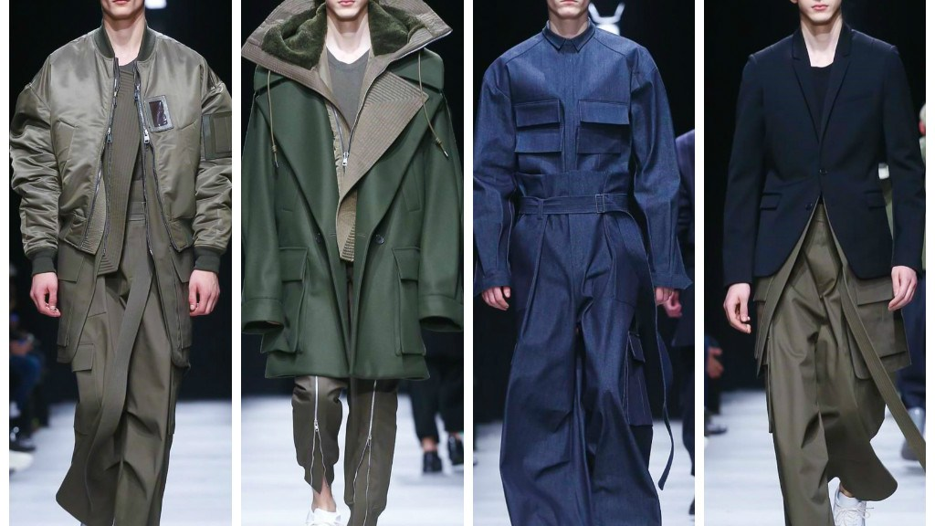 Playing with volumes of his new collection, Juun.J handles opposite colors in a monochromatic palette for Fall / Winter 2015 collection at the Fashion Week in Paris: bomber jackets in oversize with wide leg pants and military details complement a proposal vastly different sport.