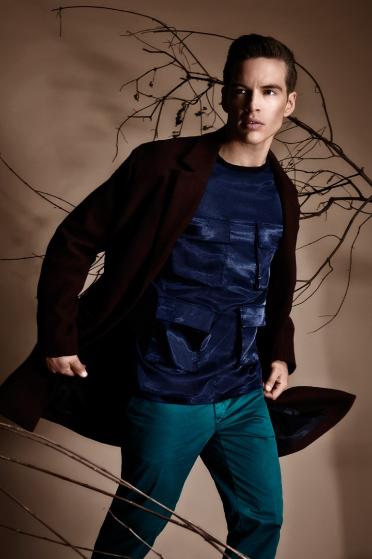 Fashion editorial for LINK Magazine photographed by Martijn Senders entitled Going To The Woods, Is Going Home, where stylist Juan Velazquez Caceres used labels like Jonathan Christopher Homme, Filippa K, HUGO, BLK DNM, G-Star Raw by Marc Newson, Denham and ASOS to name a few; to styled male models Rutger at De Boekers (Amsterdam) Talents Models (Munchen). Grooming by Yokaw.