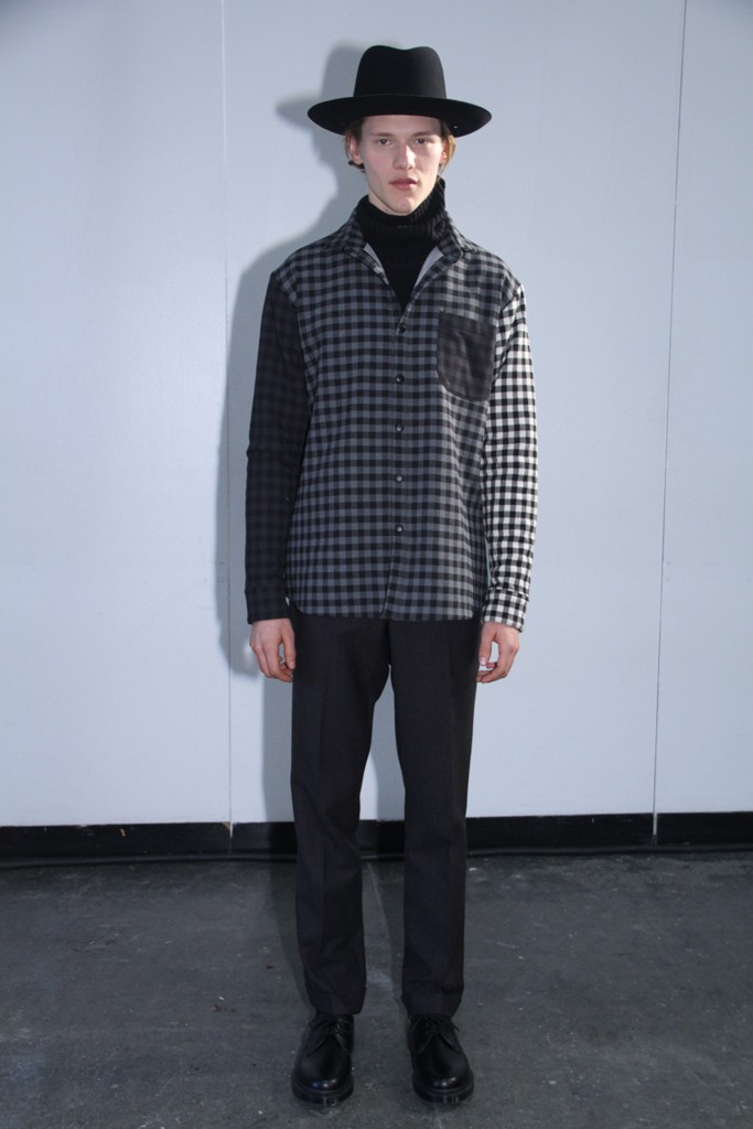"The idea of Americans traveling the world provided the Timo Weiland design team with fuel for a collection that celebrated heritage pieces, twisted into new forms.  The truncated offering included ""denim"" jackets in suiting fabrics and woven sweatpants. Other elevated classics included traditional bombers, sweatshirts and work shirts.  While most of the pieces will undoubtedly retail well, the collection did nothing to move forward the DNA of the brand."