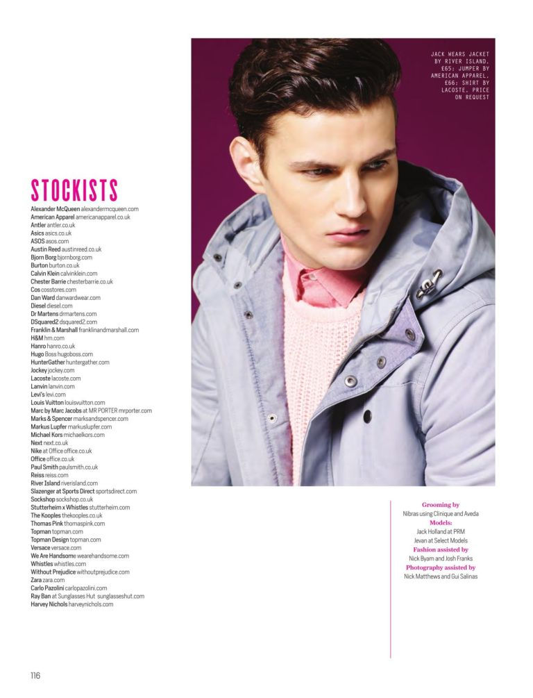 On Wednesdays We Wear Pink for Attitude - February 2015 by Photographer Dimitris Theocharis, Fashion by Joseph Kocharian, Grooming by Nibras Models: Jack Holland at PRM, Jevan Williams at Select.