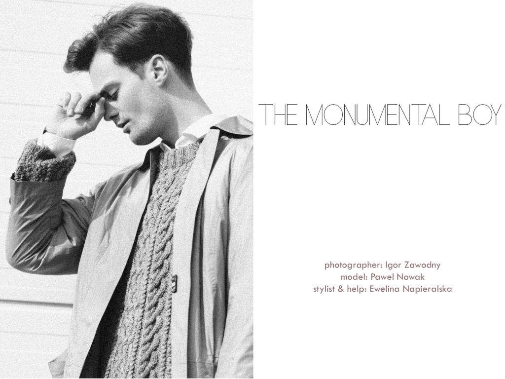 Pawel Nowak at Como Model posing for the lens of Igor Zawodny presenting Monumental Boy, styled by Ewelina Napieralska and Design.