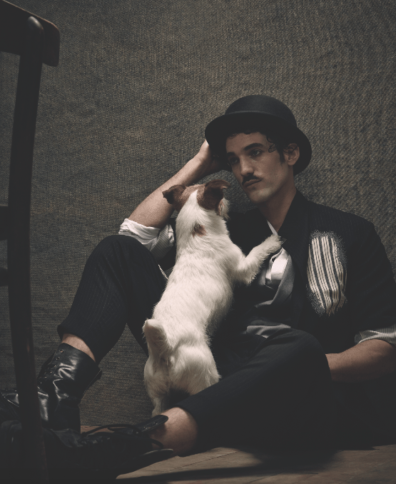 Manor de Bain, our story inspired by the 20s starring Max Rogers @Storm as Charles Chaplin photographed by Jenny Brough, Fashion Zadrian Smith for ODDA 8 Decades issue