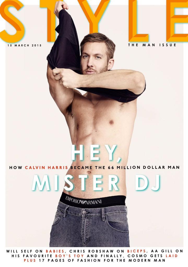 After starring ad shots from Emporio Armani Underwear, DJ of Dance Music and Producer Calvin Harris now posing for the cover of Sunday Times Style, shot by Aitken Jolly.