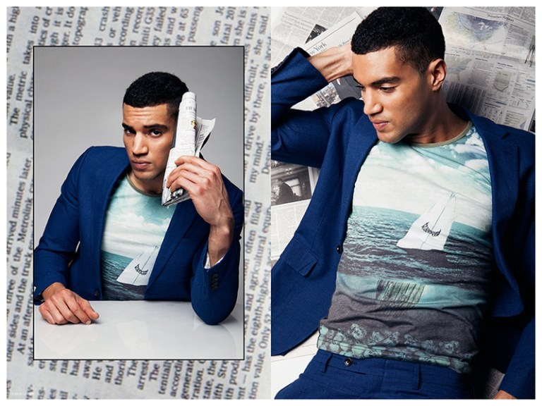 Football player turned model Devin Goda poses for a new photo shoot lensed by fashion photographer Erik Carter. The Wilhelmina model stars in a newsworthy story as he channels Clark Kent in a smart mix of pieces from the likes of Suit Supply, Band of Outsiders, J.Crew and ISAORA. / Styling by Saul Carrasco.