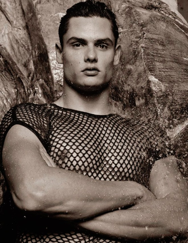 French swimmer and Olympic champion Florent Manaudou photographed by Karl Lagerfeld, for the Spring/Summer 2015 issue of Numéro Homme.
