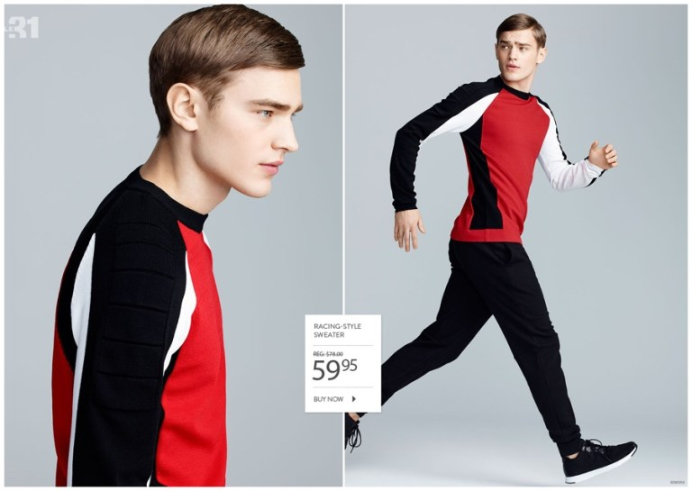 After showcasing modern black basics, Canadian retailer Simons reunites with Swedish model Bo Develius for a look at LE31's sporty spring fashions. The comfortable range tackles a graphic appeal with the classic color trio of black, white and red. Accented by gray, the lineup has a strong modern voice with a versatile selection of tops and joggers.