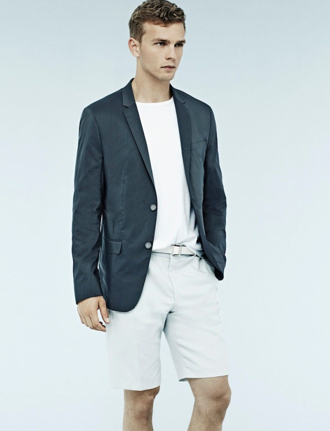 New promotional ad shots with male model Benjamin Eidem modeling casual garments for Calvin Klein.