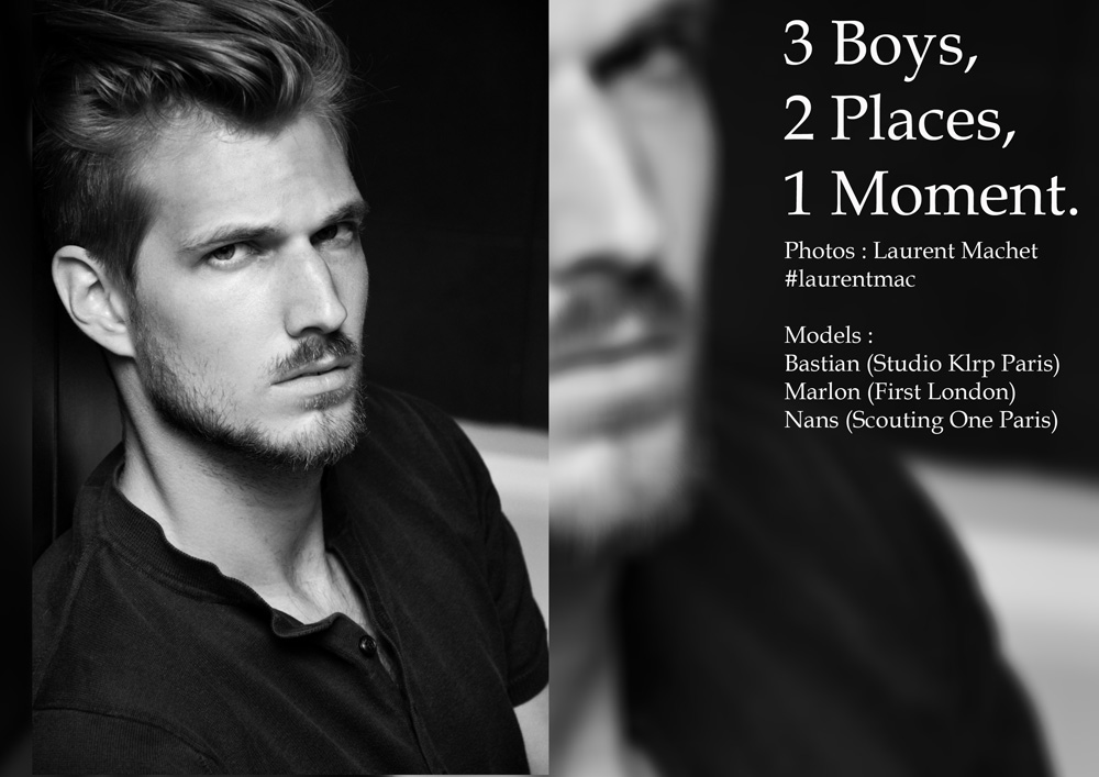 """Studs young men on """"3 Boys, 2 Places, 1 Moment"""" at Paris, all of them photographed by Laurent Machet for The Blake Magazine with models Bastian at Studio Klrp Paris, Marlon at First London and Nans at Scouting One Paris."""