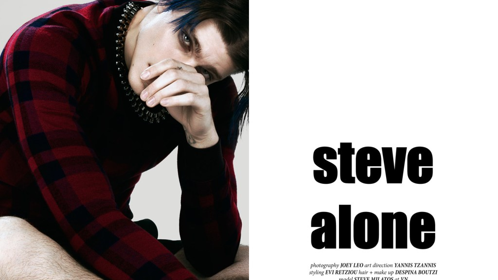 """Photography by Joey Leo and Styling by Evi Retziou presenting Steve Alone a fashion editorial with top model Steve DF """"Stefanos Milatos"""" for a Cover story (spreads) for CHASSEUR issue #10 (spring/summer 2015). Make Up: Despina Boutzi Art Direction: Yannis Tzannis"""