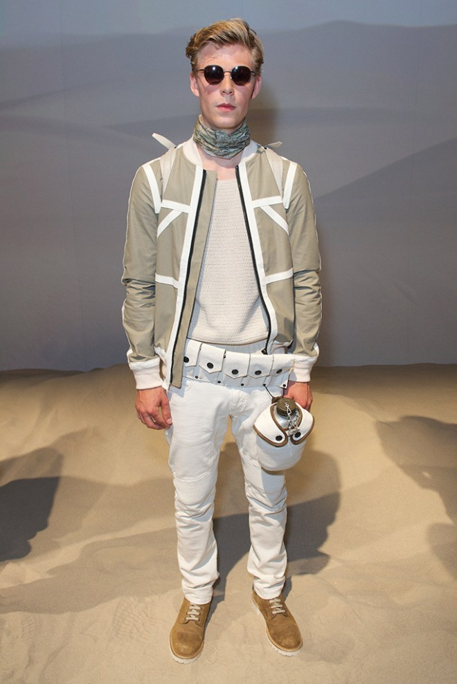 """The British brand that built its name on moto-inspired outerwear, left the open road behind and braved the desert dunes, showing off a handsome collection with a vintage military feel and strong whiff of """"The English Patient."""""""