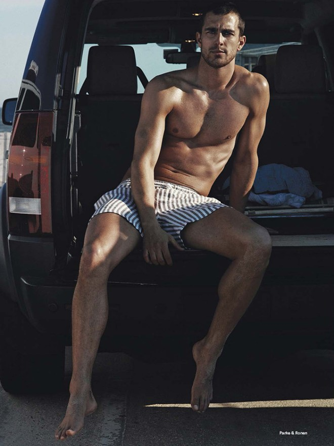 Ford Models' finest Jarrod Scott and Clint Mauro hit the beach in The Perfect Summer Suit photographed by Robbie Fimmano for the June/July issue of Details Magazine.  Jarrod and Clint wear beachwear by brands including Burberry Brit, Tommy Hilfiger, Emporio Armani and Boss styled by Matthew Marden
