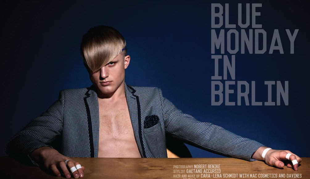 """Men Moments Magazine presents """"Blue Monday in Berlin"""" a Photography by Nobert Benike and Stylist: Gaetano Accursio Hair and Make up: Cara-lena Schmidt with Mac cosmetics and Davines"""
