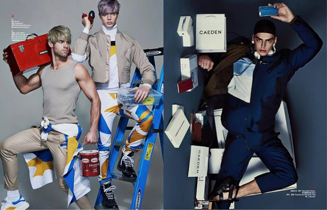 "Top models Daan van der Deen, Chad White and Henrik Fallenius breaks the internet with an amazing fashion work entitled ""Shopaholic"" photographed by Shxpir for the new issue of Harper's Bazaar China. Stunners styling by Jonathan Mahaut."