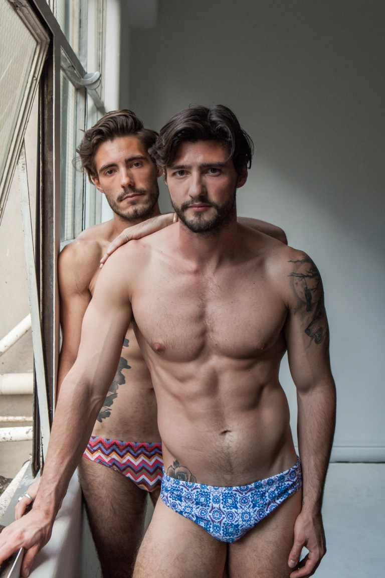 """I'd like to introduce this editorial entitled 'Rory + Jordon x HVNC' and the inspiration that we worked with; is of a close friendship between two men: """"bromance""""; this two masculine studs are wearing HVNC Australia the brand I'd like to introduce you cause as we can see, they have cool speedos and tops styled by Tezer Huseyin in a photography by Beck Johnson + Sheen Media."""