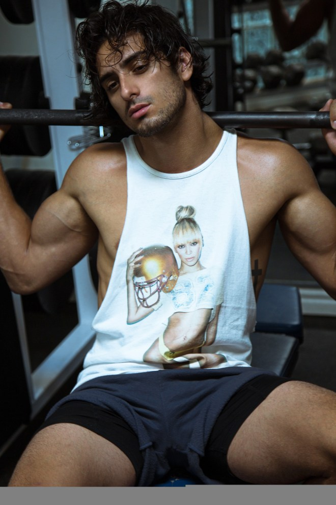 Spending a big time sensuality with newcomer Christian Mazzilli represented by Elmer Olsen Models incredible shots by Hadi Mourad. 6'0 of manly sexiness Christian is posing in a gym motivational hot session.