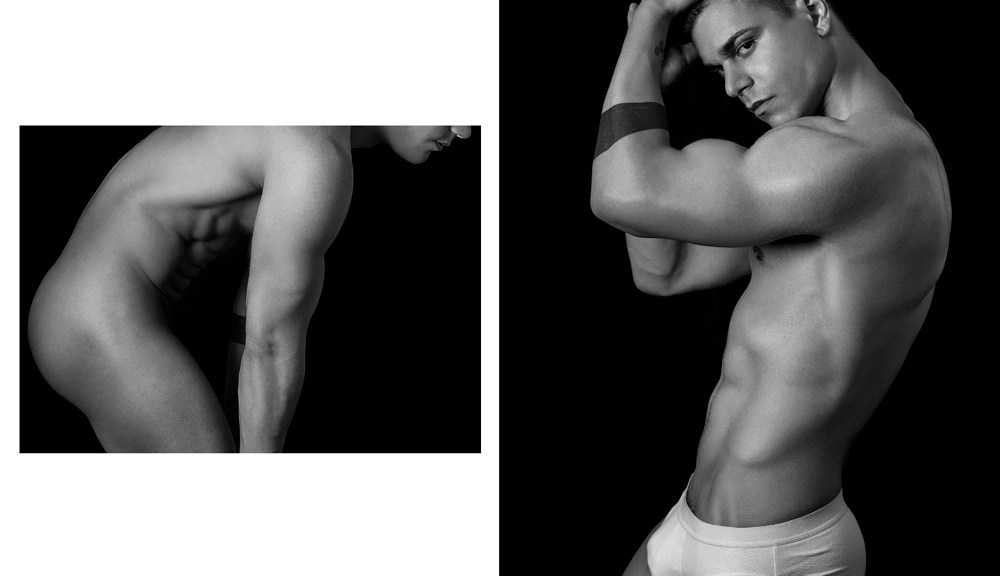 """New project called """"Curves"""" inspired by American Artist of the 50's according to photographer Alisson Marks who worked so professional with stunning new male model Federico Santilli an Italian hunk modeling aesthetics in black and white."""