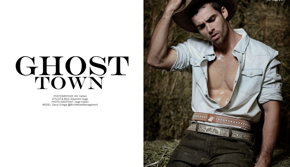 "Exclusive for Fashionably Male we present ""Ghost Town"" a stunning work by photographer Afif Kattan, starring by male model David Ortega, he's represented by Blink Model Management, David playing a lonely cowboy, styled all in denim, boots and hat, the masculine matador looks so handsome and ready to kill but will steal your heart."
