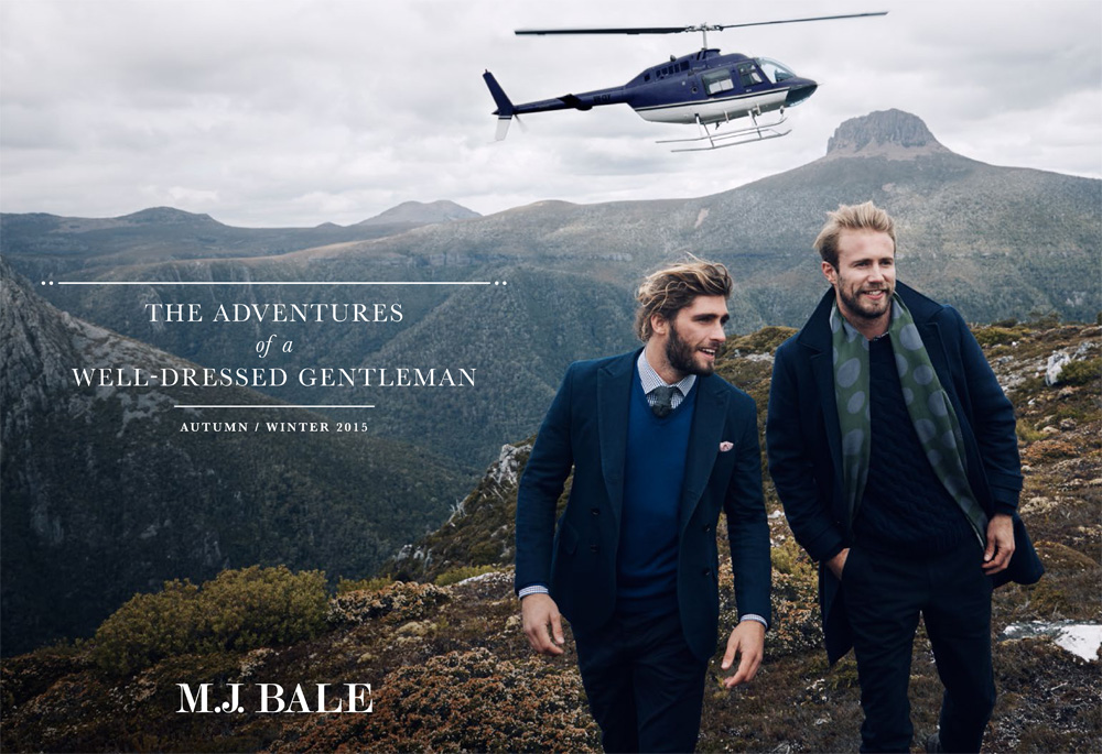 """Excerpt from M.J. Bale Autumn/Winter 2015 Men's Campaign. M.J. Bale took to the rugged wilds of Cradle Mountain, Tasmania, to shoot the brand's Autumn/Winter 2015 campaign, conceived as the """"Adventures of a Well-Dressed Gentleman."""""""