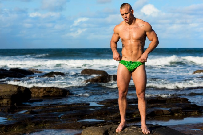 Swimwear for Aussie men. Made in Australia. Classic styling - tight at the back and loose at the front.