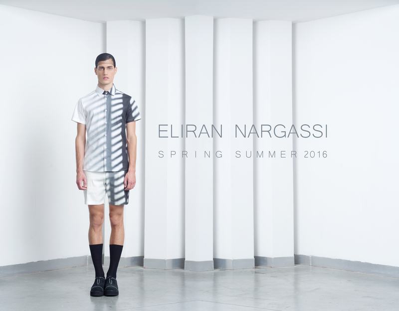 The Spring / Summer 2016 collection revolves around inside versus outside in terms of the different spaces within a home in contrast to its exterior. I've contemplated a home's structure and foundations and segmented traditional patterns to create new fractured silhouettes. I've also explored the impact of light filtered through shutters and the imprint it leaves and created digital prints on cottons and knits. The collection consists 19 pieces with a minimal color pallet of black, white and cream and a minimalistic design; combining original prints on cottons and light scuba fabrics. The collection includes tailored button down shirts, semi-tailored T-shirts, tailored pants with a sporty look and feel, knee long Bermuda shorts and 3/4 long oversized pants.