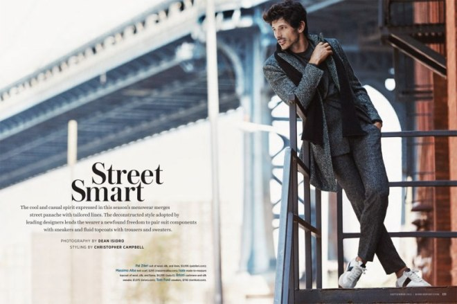 """Cover Rovv Report Magazine, Spanish male model Andrés Velencoso is posing in an amazing fashion editorial named """"Street Smart"""", shot by Dean Isidro and styled by Christopher Campbell."""