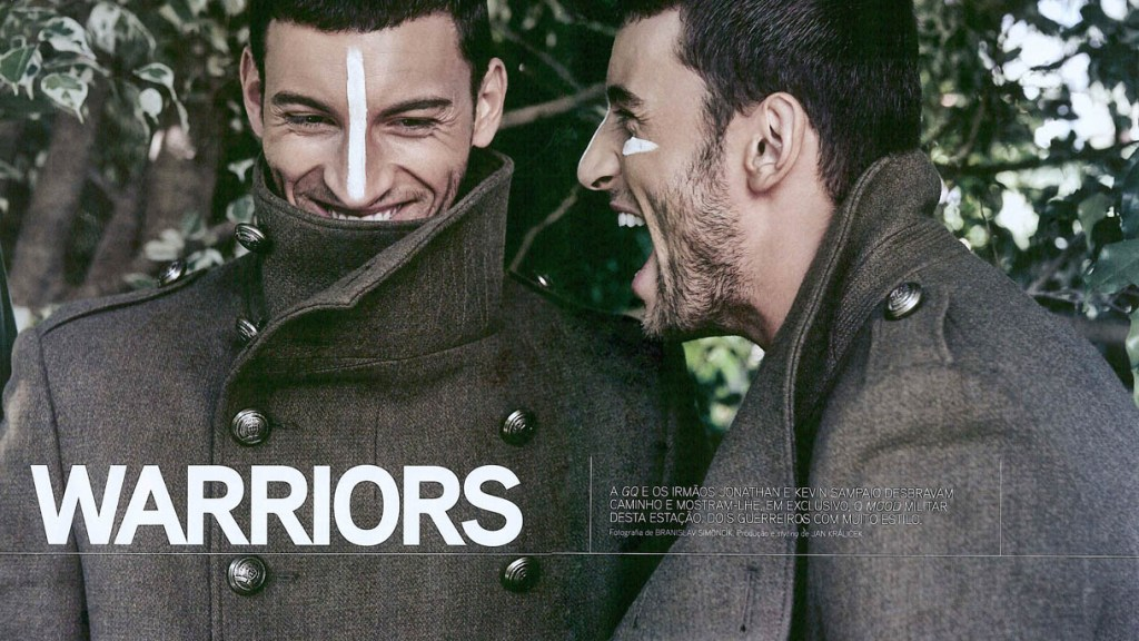 GQ Portugal October 2015 presents Warriors a work by Photographer Branislav Simoncik starring by male models Kevin and Jonathan Sampaio.