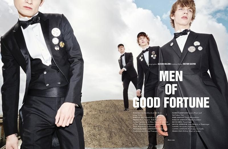 MEN OF GOOD FORTUNE published work at 10 Men Magazine FW/15 photography by Alessio Bolzoni, Fashion Editor/Stylist Hector Castro, Hair Stylist Ramona Eschbach, Makeup Artist Alice Ghendrih and Casting Director Alexandra Sandberg.