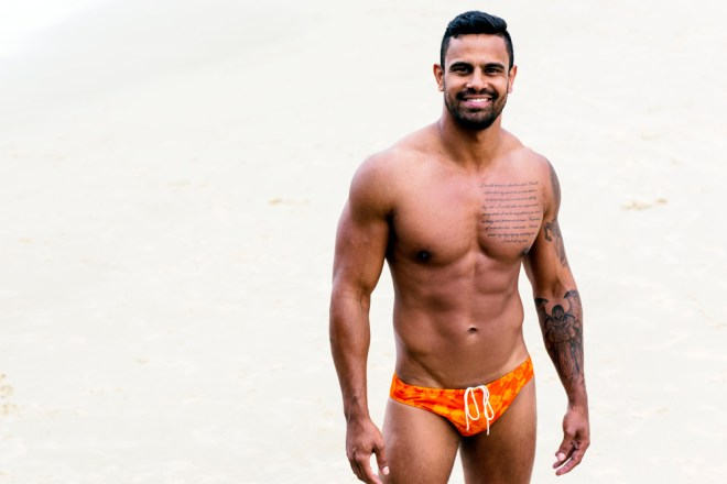 Made in Australia: Sluggers presents new ads Summer Campaign promoting their new collection with some really nice arrivals, including speedos and sungas in amazing colors and designs. Russell Fleming did an amazing job with an Australian Aboriginal model called Casey Conway, Russell really captured Casey's cheeky personality!