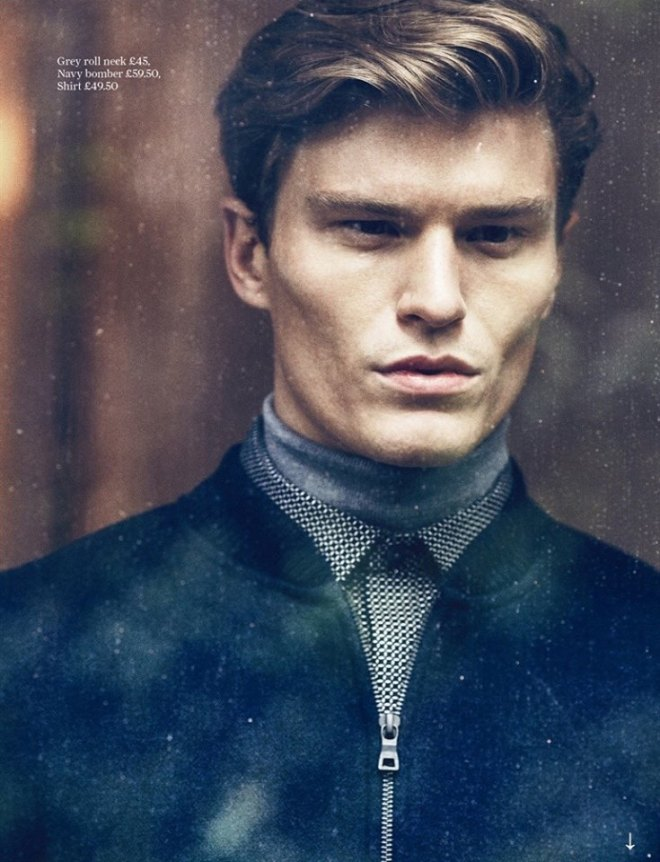Oliver Cheshire stars in an editorial for Attitude Magazine called Autograph. The model, photographed by Mark Cant, wears the new autumn/winter menswear collection of Mark & Spencer.
