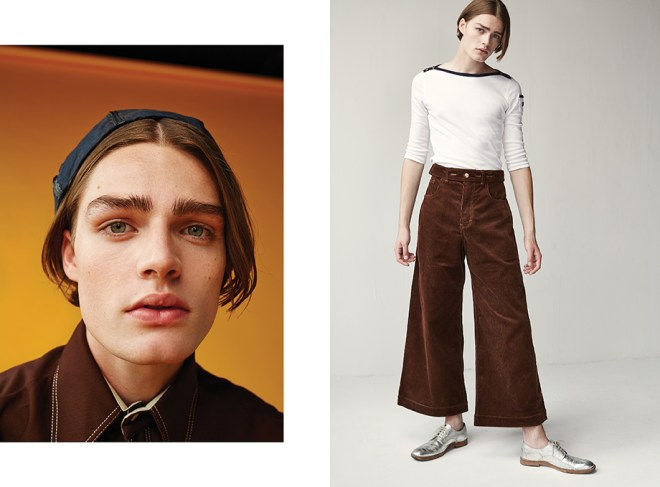 Left: Vintage brown shirt: Beyond Retro Black cap: Liam Hodges Right: Brown cord trousers: Alex Mullins White long sleeved top: Vintage Ralph Lauren from Rokit Vintage Silver Brogues: Acne
