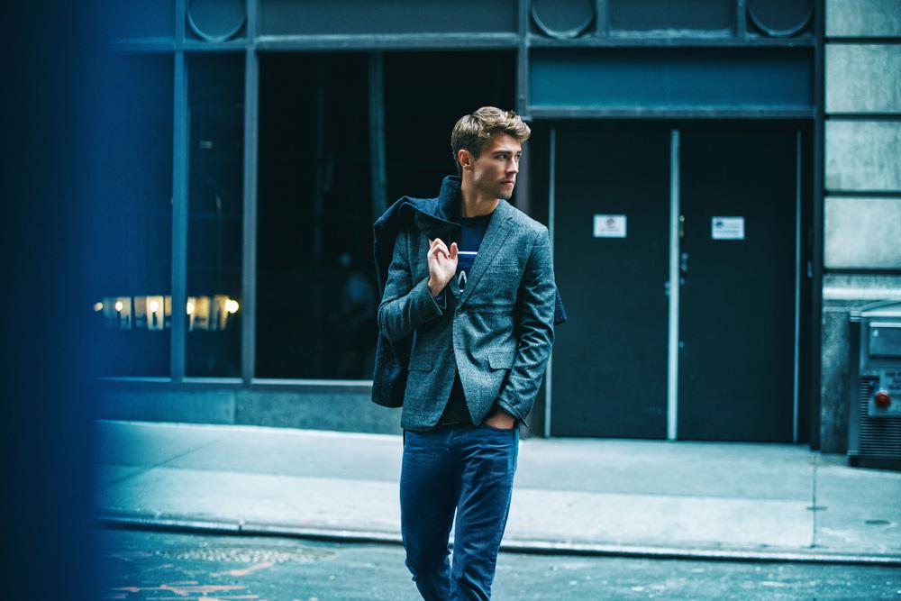 "Get into the new work of photographer Alex Jackson entitled ""Blue City"" featuring Matt Poeschl from Wilhelmina Models New York."