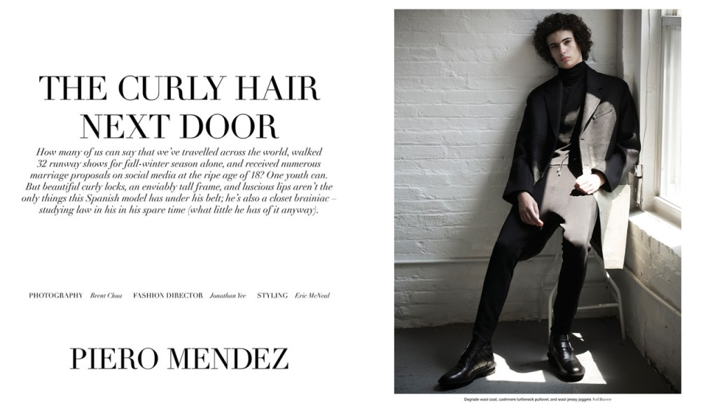 "A Throwback editorial Top Model Piero Mendez by Photographer Brent Chua, fashion Director by Jonathan Yee and styling by Eric McNeal for Manifesto October 2015. ""The Hair Next Door""."