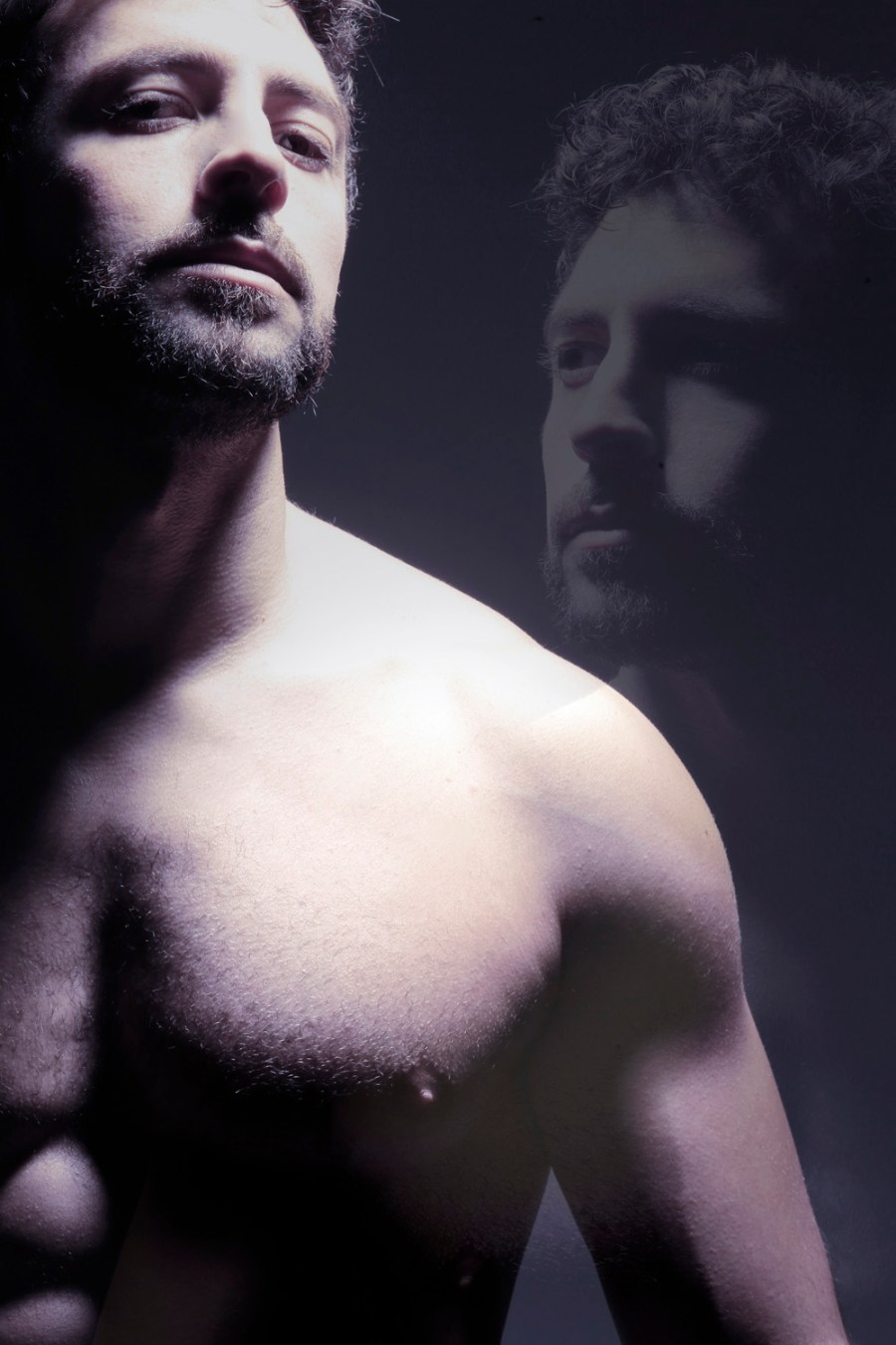 "Please experience this stunning nudart intimate photography by Spanish lensman Eduardo Peris featuring Javier Olmedo in ""Soul Man"" a see-through shots lighting the male figure of this hunk."