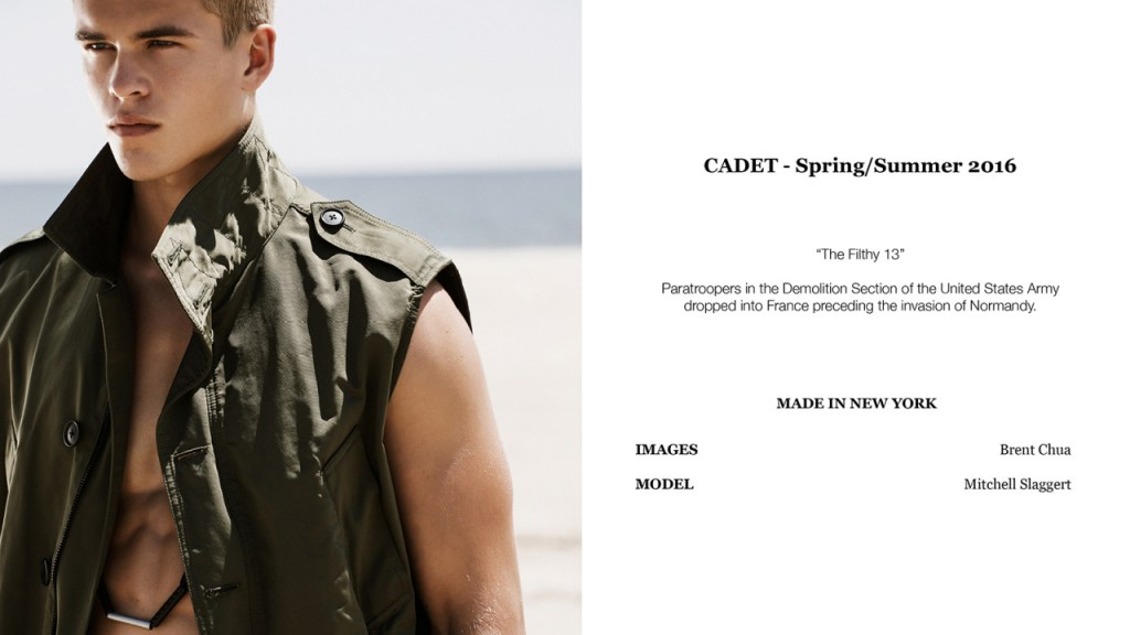 CADET Spring/Summer 2016 lookbook featuring Mitchell Slaggert from DNA Models, shot by Brent Chua, grooming by Maru Matsumoto for full story please visit: models.com