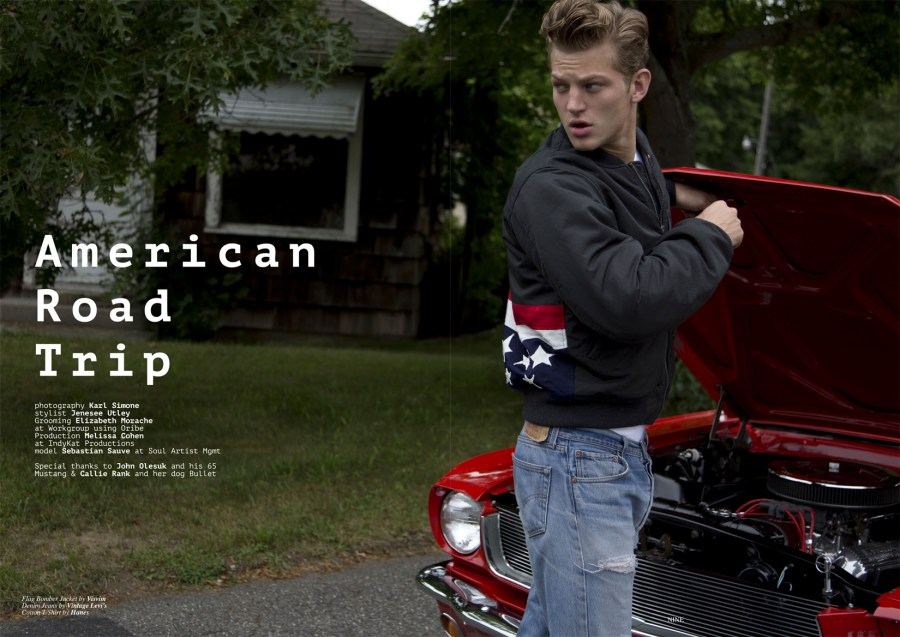 Top photographer Karl Simoen presents new story with supermodel Sebastian Sauve for Client Style Guide USA. Styled by Jenesee Utley.
