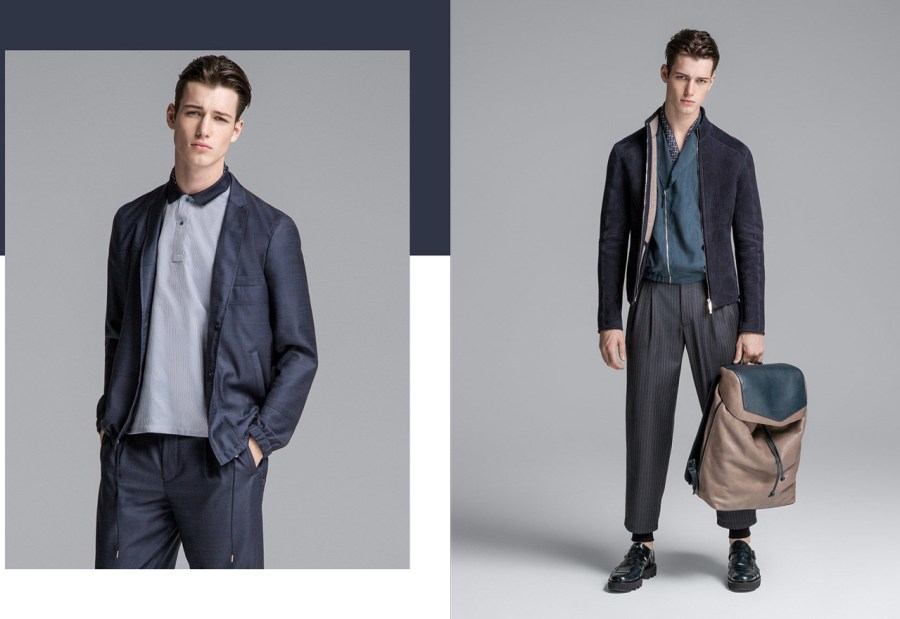 Robbie Besser lands the spring-summer 2016 Men's catalogue from Emporio Armani. Knit blazers, zippered jackets and cropped blazers are the latest fashion trends.