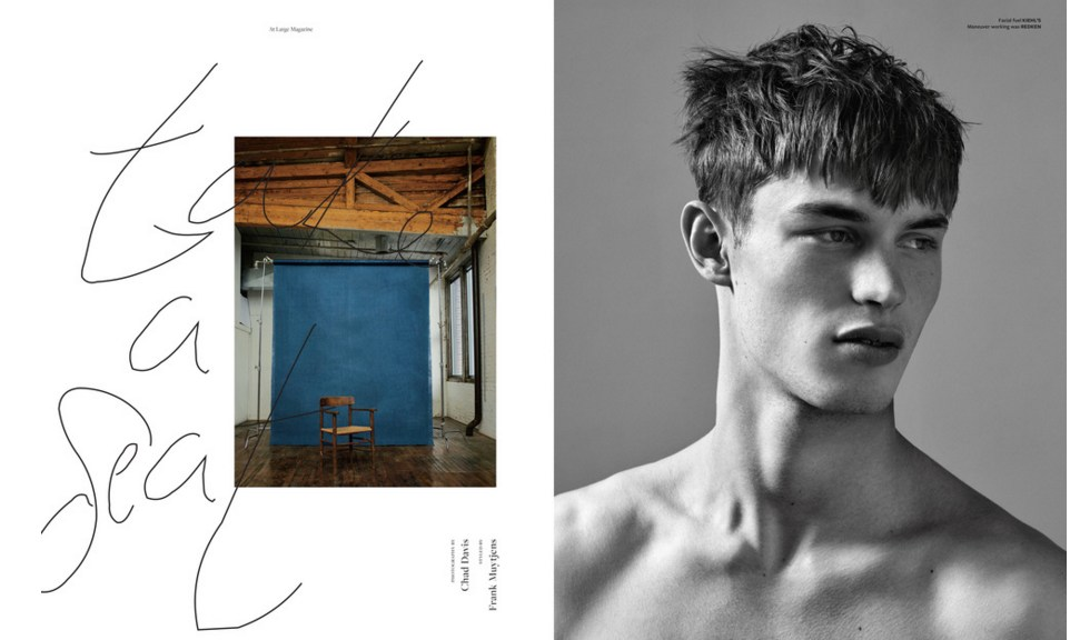 Kit Butler in At Large Magazine Issue 5. Photos by Chad Davis. Styled by Frank Muytjens. Groomed by Leon Gorman.