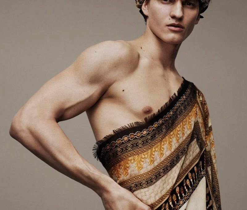 Benjamin Benedek and Malcom Lindberg front the new Scarves campaign of Versace, shot by Ben Weller.
