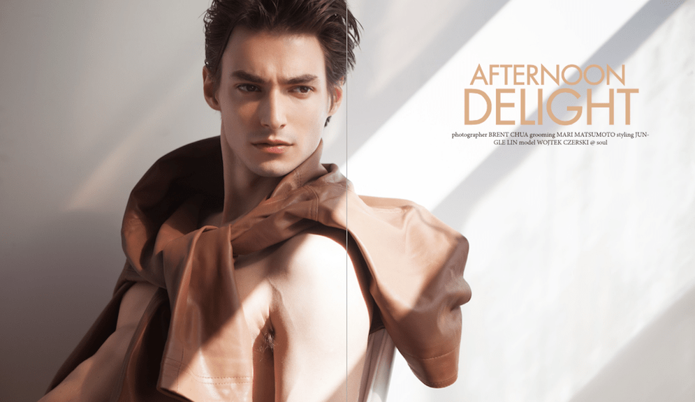 "Wojtek Czerski featuring in last issue of Men Moments entitled ""Afternoon Delight"" shot by Brent Chua, grooming by Mari Matsumoto and styling by Jun Gle Lin."
