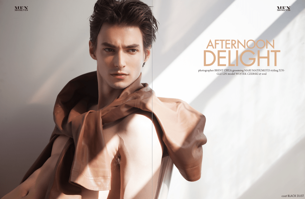 """Wojtek Czerski featuring in last issue of Men Moments entitled """"Afternoon Delight"""" shot by Brent Chua, grooming by Mari Matsumoto and styling by Jun Gle Lin."""