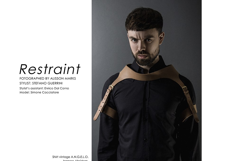 'Restraint' is the main title by photographer Alisson Marks and stylist Stefano Guerrini featuring model Simone Cacciatore who worn garments like A.N.G.E.L.O. AntPitagora, Modus Vivendi, Levi's vintage among others. Stylist assistant by Enrico Dal Corno.