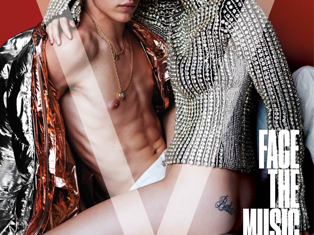 Models and stars Taylor Hill, Troye Sivan, Lucky Blue Smith & Kacy Hill for the new V Magazine cover # 103 Fall 2016 titled 'Face the Music' shot by Mario Testino, styled by Paul Cavaco.Make-Up: Dotti Hair: Christiaan.