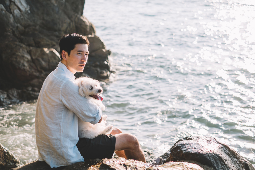 Seaside story in Hong Kong with 2 talents model Richie Kul and photographer/architect Vivien Wei Wei Liu and Richie's equally photogenic sidekick Lily.