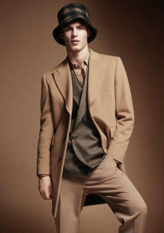 Paul Smith shirt and wool jacket, trousers and coat; Maison Michel wool hat.
