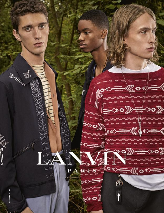 Lanvin Spring/Summer 2017 Menswear Ads Shooting features Joby Barrett, Montell Martin, Rich Cole and Tony Minenkov by Paolo Roversi.